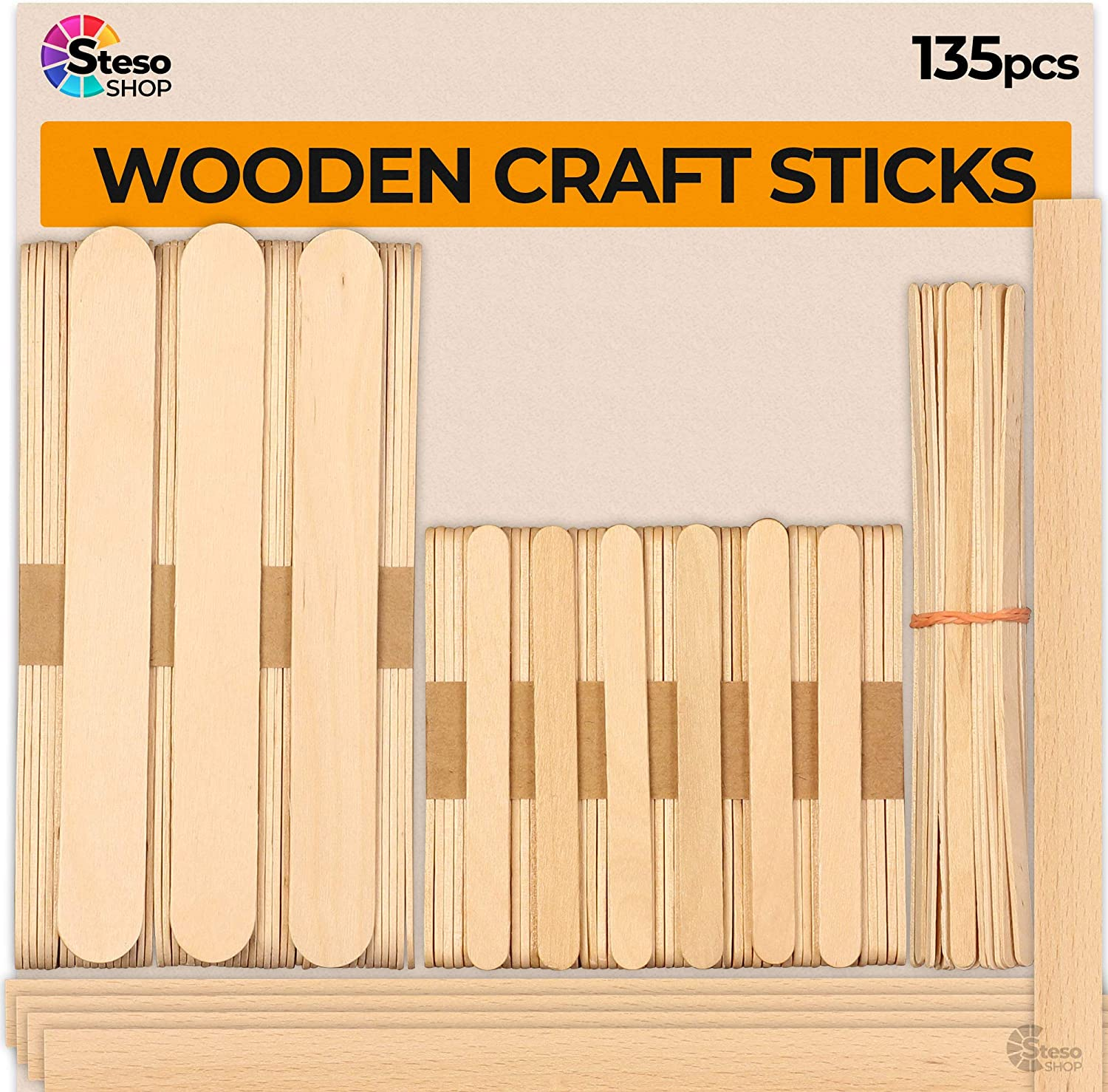 StesoSHOP Popsicle Stick – Jumbo Craft Sticks - Mixed Sizes Different Natural Wood Popsicle Sticks - Durable Wood Stick Bulk Food Grade Wax Paint Stir Sticks - Wood Strips - More Fun Craft Kids Adult
