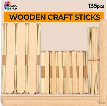 Natural Wooden Popsicle Stick Jumbo Craft Sticks 100Pcs