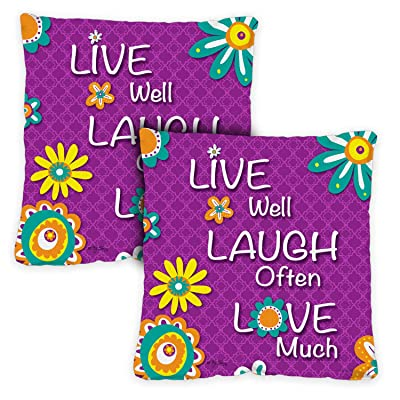 Toland Home Garden Live Laugh Love 18 x 18 Inch Decorative Indoor Pillow Case Only (2-Pack): Home & Kitchen