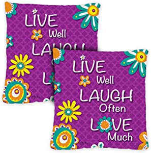 Toland Home Garden 761206 Live Laugh Love 18 x 18 Inch Indoor/Outdoor, Pillow Case (2-Pack)
