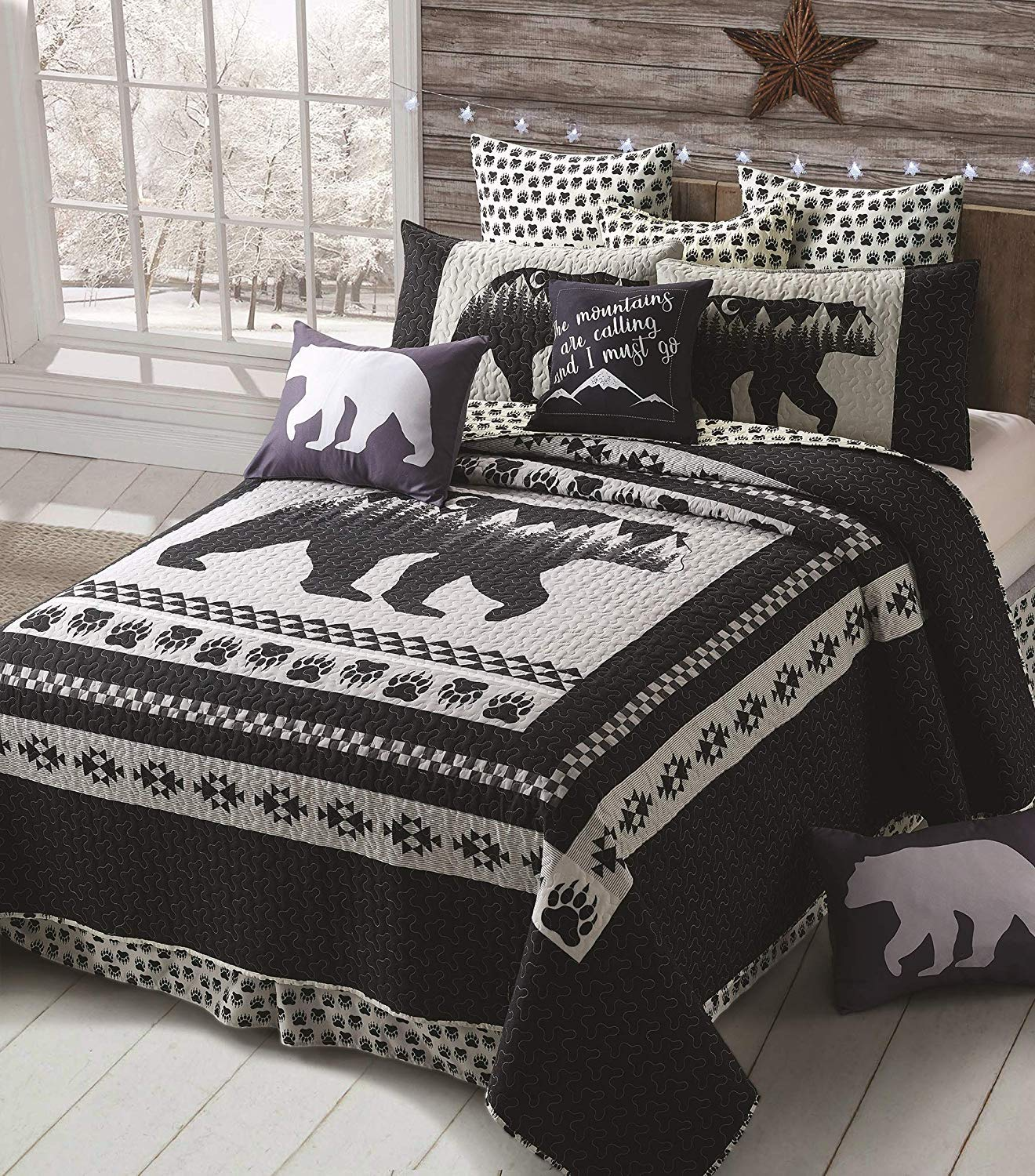 Virah Bella 3 Piece Moon Bear Quilt Set - Mountain Cabin Southwestern (Black, Queen/Full)