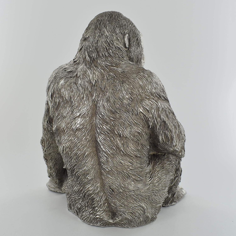 aus Keramik Farbe Silber Grosse Yoga Figur durch wundervolles Design in Szene gesetzt Gr/ö/ße 24 x 15 x 9 cm Modell EINKLANG 1 tolles Geschenk Skulptur FIACCA G.H