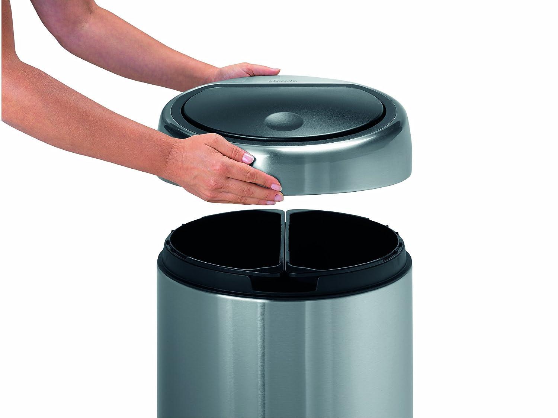 Brabantia 401060 - Cubo de Basura, Touch Bin, 2 x 20 litros, Dos compartimientos para Reciclaje, Acero Brillante: Amazon.es: Hogar