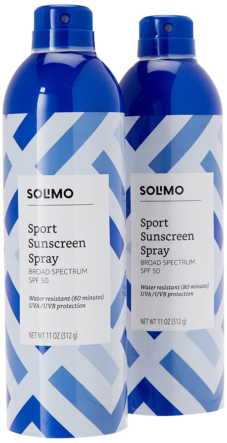 Amazon Brand - Solimo Sport Sunscreen Spray Broad Spectrum SPF 50, 11 Ounce (Pack of 2) Amazon.com Services Inc.