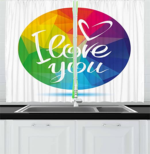 Ambesonne Pride Kitchen Curtains Rounded Polygonal Rainbow Colored Framework With I Love You Calligraphic Design Window Drapes 2 Panel Set For Kitchen Cafe Decor 55 X 39 Multicolor Home Kitchen