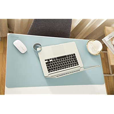BRAVEWAY Office Desk Mat Blotter Extended Gaming Mouse Pad Leather Dual Side Use Waterproof 31.5 x 15.7 inch White and Silver-Grey