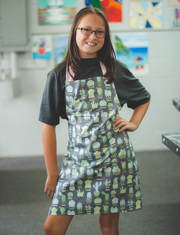 Handmade Cactus Kitchen Art Apron Gift for Teen Tween Girls