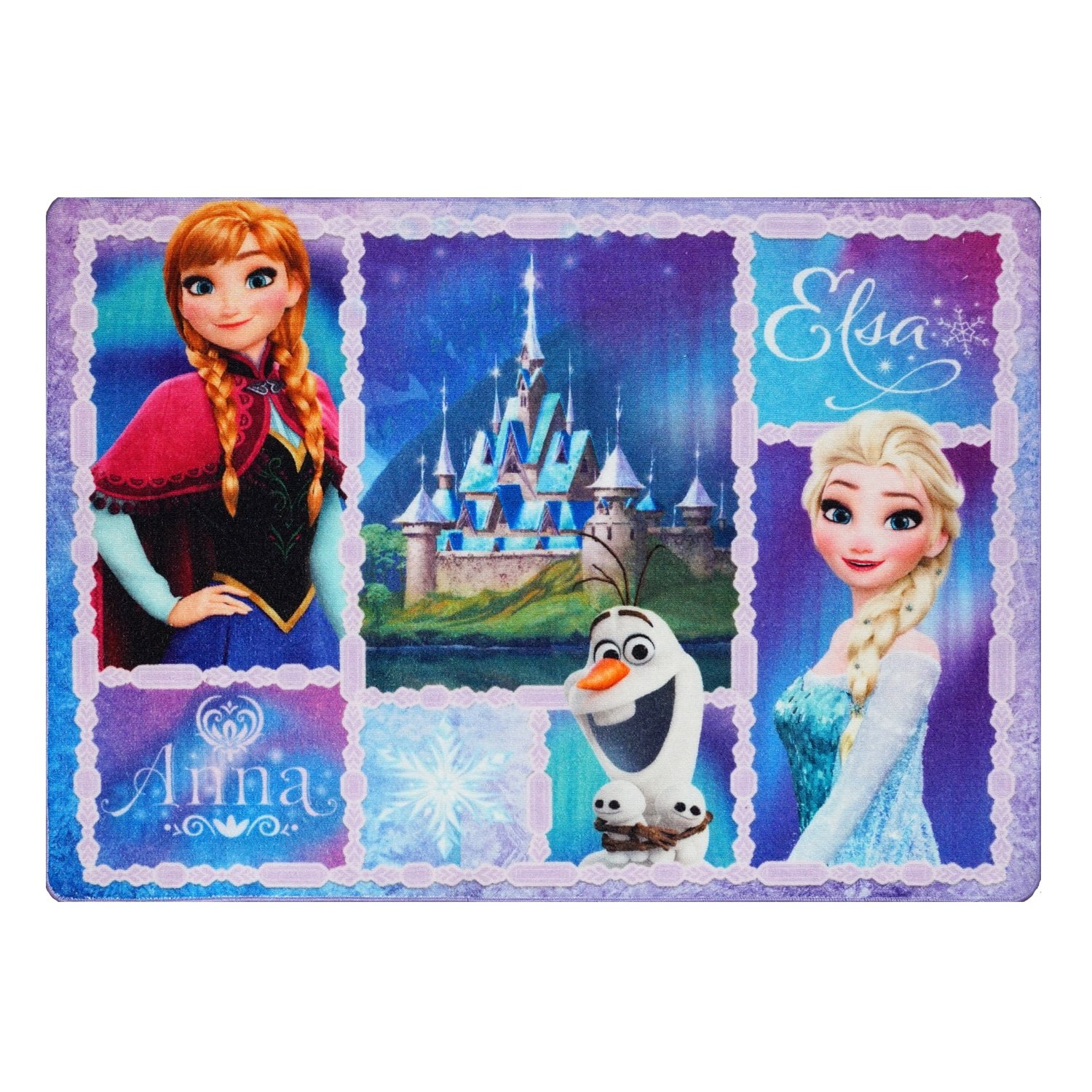 Ln 4'6 x 6'6 Kids Blue White Disney Frozen Theme Area Rug Rectangle, Indoor Purple White Disney's Themed Kid Bedroom Carpet Olaf Anna Elsa Princess Sisters Movie Cartoon Characters, Polyester