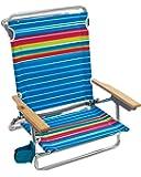 Rio Beach Classic 5 Position Lay Flat Folding Beach Chair - Graphic Traffic Blue/White/Multi Stripe