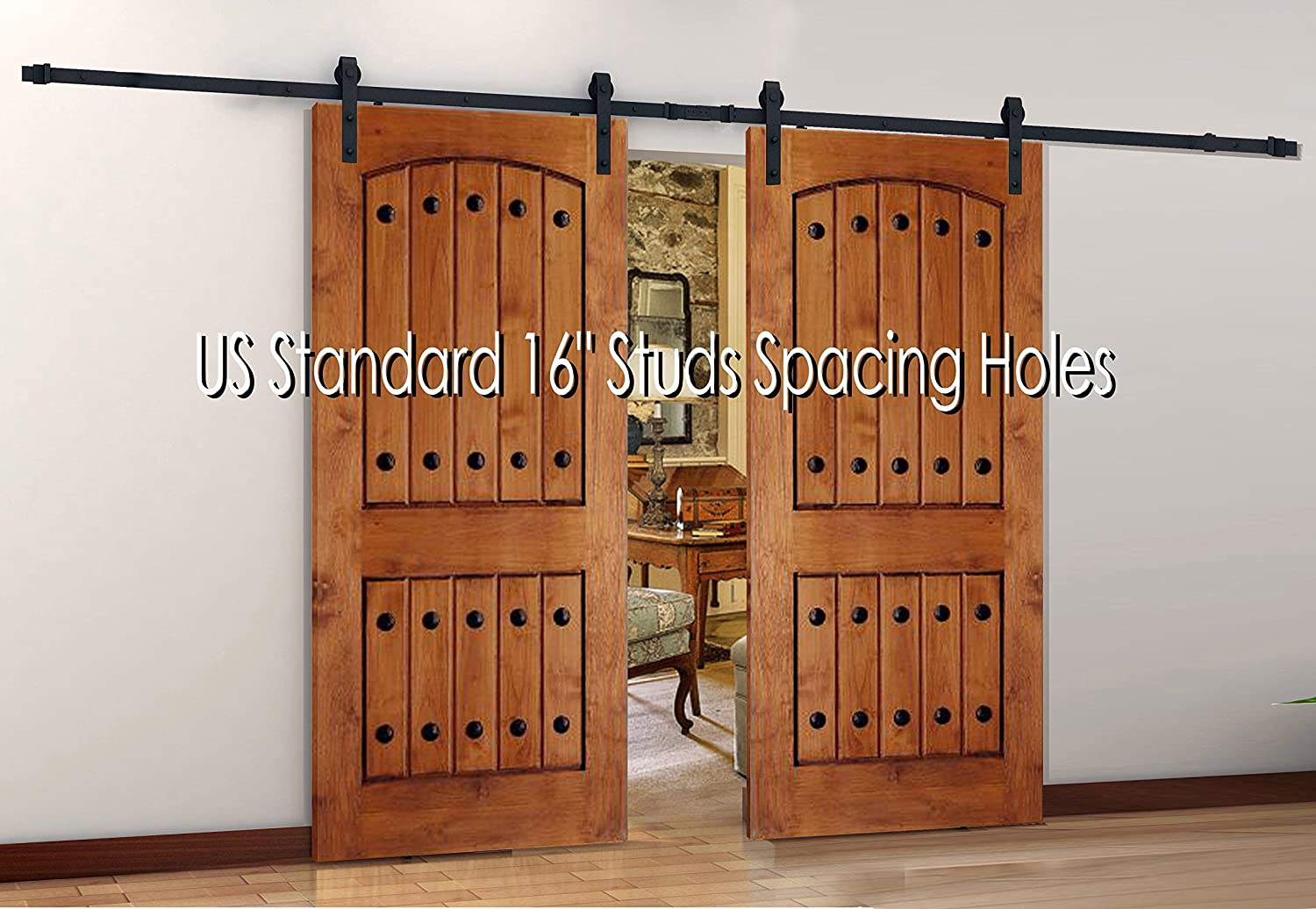 Antique Style Steel Sliding Wood Barn Door Hardware 120 With Splice Premium Quality Extra Supply Longer Bolts For Thickness 1 3 4 Concrete Anchor