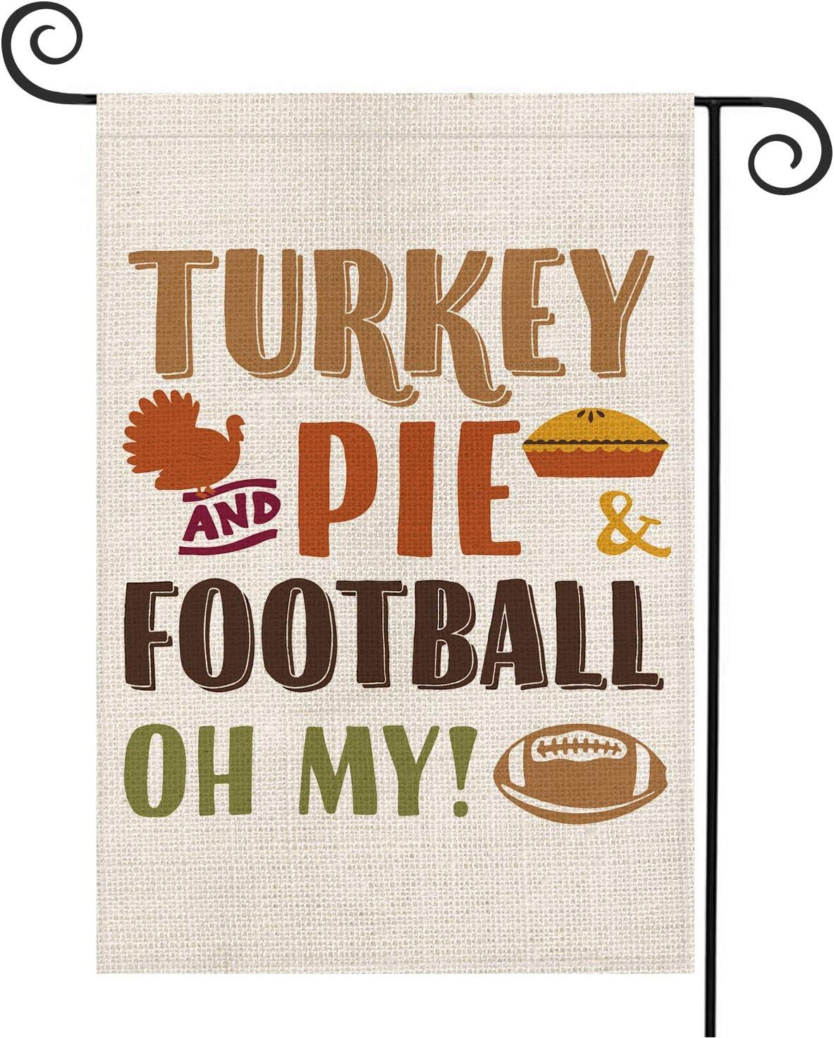 AVOIN Turkey Pie Football Garden Flag Vertical Double Sized, Fall Thanksgiving Yard Outdoor Decoration 12.5 x 18 Inch