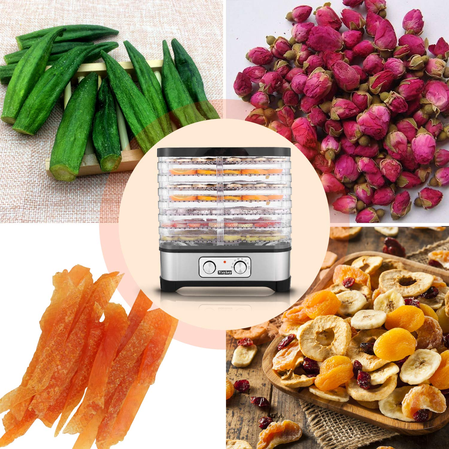 Food Dehydrator Machine by Electricity,7 Trays Knob Button 250W Temperature adjustable 95-158