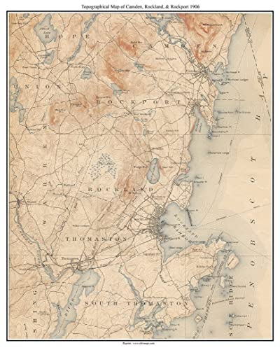 Topographical Map Of Maine Amazon.com: Camden, Rockland & Rockport 1906 Old Topographic Map