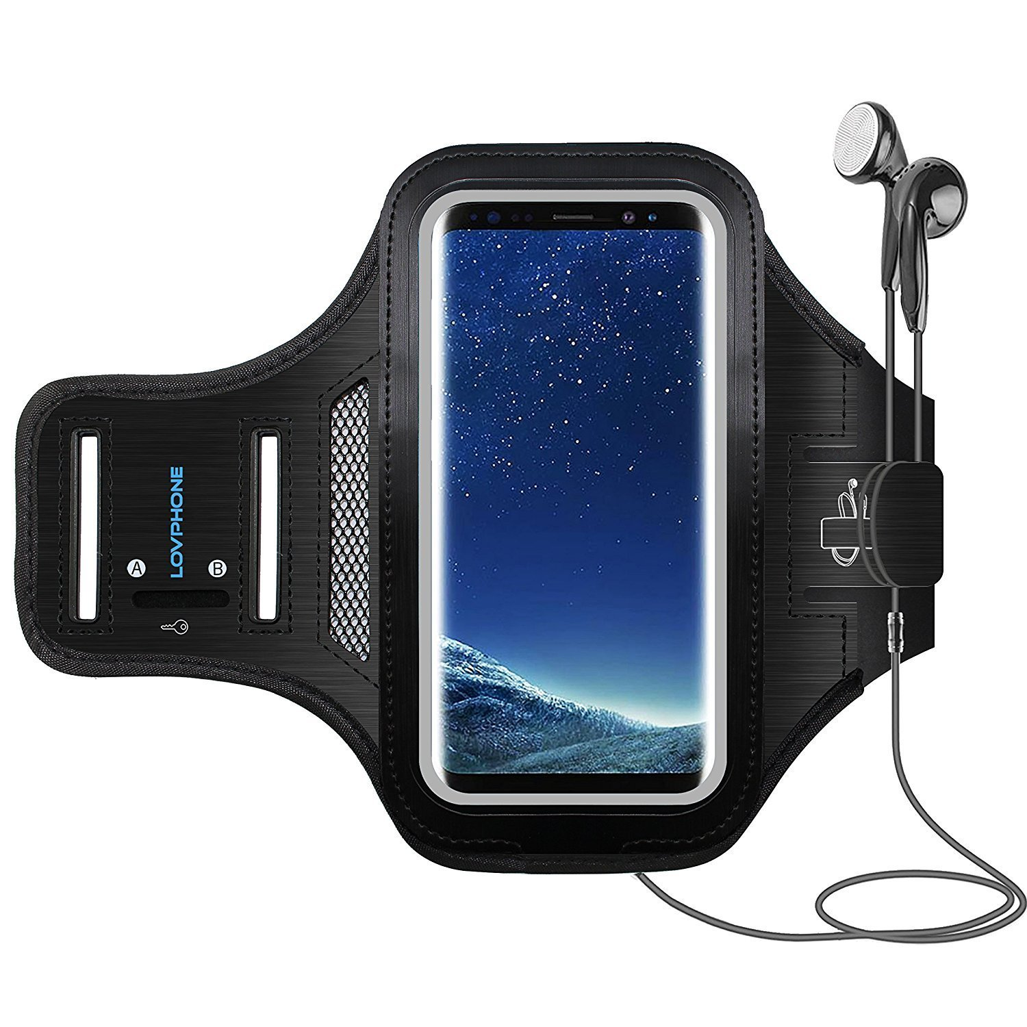 Galaxy S8 Armband - LOVPHONE Sport Running Exercise Gym Sportband Case for Samsung Galaxy S8, with Key Holder & Card Slot,Water Resistant and Sweat-proof (Blue) Heikaa