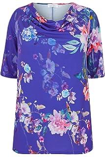 Yours Clothing Women/'s Plus Size Black /& White Floral Print Hanky Hem T-shirt