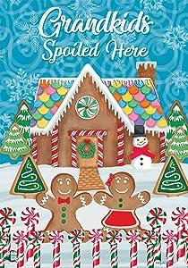 Briarwood Lane Grandkids Spoiled Here Christmas Garden Flag Gingerbread House 12.5