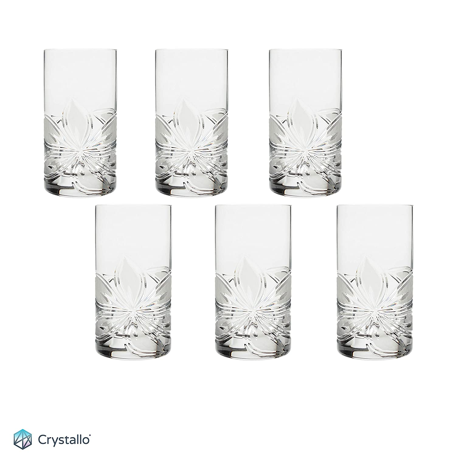 Orchidea Crystal Highball Glass 12oz, Set of 6 (Gift Boxed) Crystallo BG302OR-6