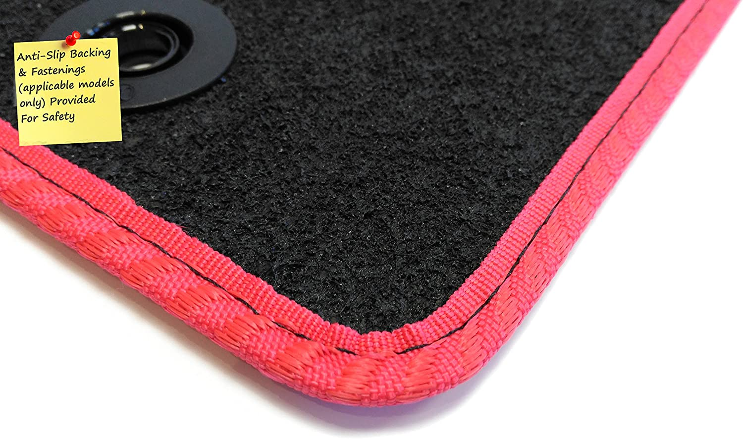 for Hi-Lux 2006- Connected Essentials 5031605 Tailored Heavy Duty Custom Fit Car Mats Black with Red Trim Premium Single Cab