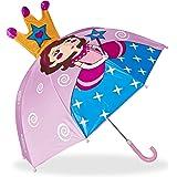 Relaxdays Kinderregenschirm 3D Prinzessin, Regenschirm f. Mädchen, kleiner leichter Stockschirm in Glockenform