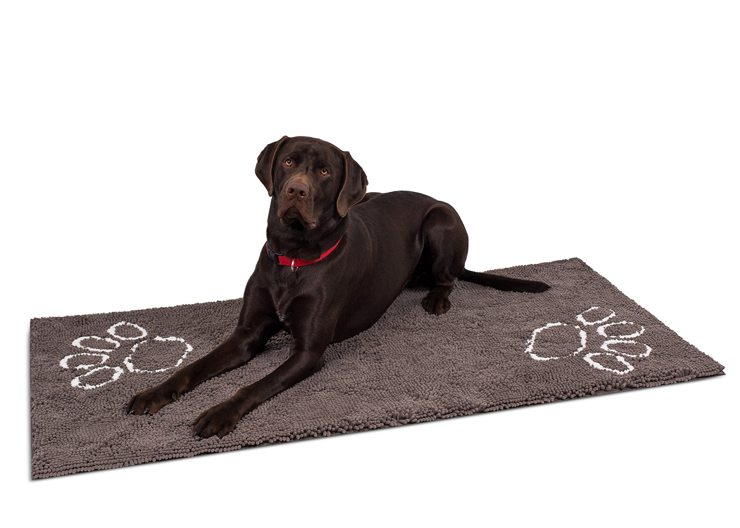 Internet's Best Chenille Dog Doormat - 60 x 30 - Absorbent Surface - Non-Skid Bottom - Protects Floors - Grey