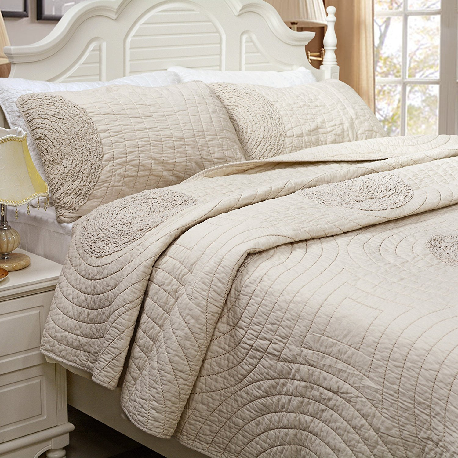 Brandream Queen Size Beige Bed Quilt Set Luxury Bedspread