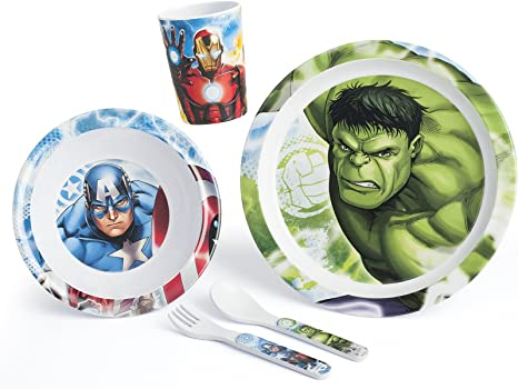 Lulabi Marvel Avengers - Juego de mesa (5 unidades, melamina): Amazon.es: Bebé