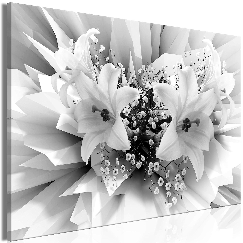 decomonkey Akustikbild Blumen Abstrakt 120x80 cm 1 Teilig Bilder Leinwandbilder Wandbilder XXL Schallschlucker Schallschutz Akustikdämmung Wandbild Deko leise Lilien