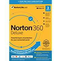 """Norton 360 Deluxe €"""" Antivirus software for 3 Devices with Auto Renewal - Includes VPN, PC Cloud Backup & Dark Web Monitoring powered by LifeLock [Key Card]"""