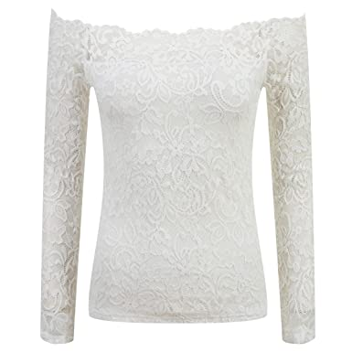 99f4f8760 Womens Boat Neck Floral Lace Off Shoulder Long Sleeve Shirt Top 68119 at  Amazon Women s Clothing store