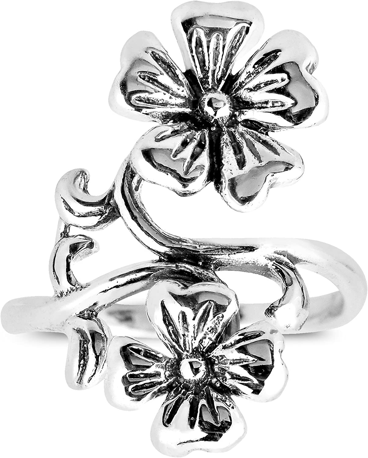 AeraVida Nature Inspired Pretty Flower Themed .925 Sterling Silver Toe Ring or Pinky Ring