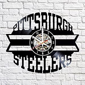 Vinyl Record Wall Clock Compatible with Pittsburgh Steelers Home Decor - Bedroom Wall Clock Pittsburgh Steelers Wall Art Decoration Gifts for Adults