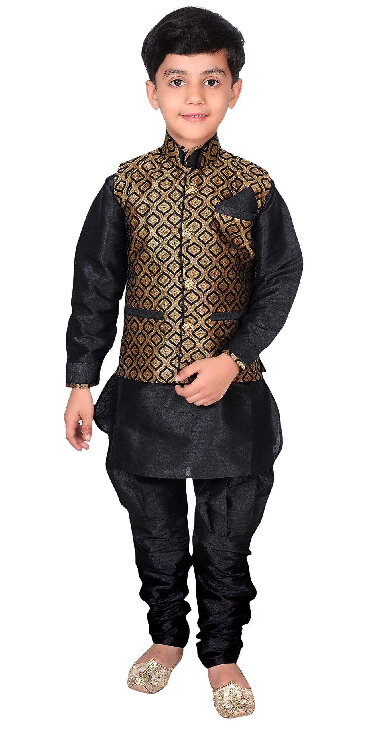 Desi Sarees Boys Kurta Pyjama Waistcoat wedding Sherwani EB 945 (12 (12 yrs), Black)