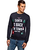oodji Ultra Homme Sweat-Shirt de Noël Coupe Droite avec Imprimé Hivernal