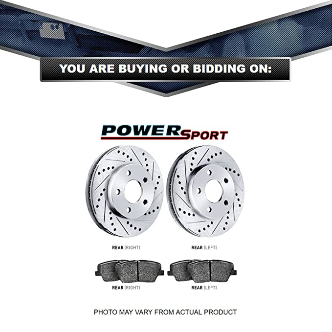 Wrangler Front Sport Drill Slot Brake Rotors+SD Brake Pad Fit 2003-2006 Jeep TJ
