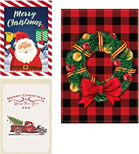 3 Pack Christmas Garden Flags for Winter and Christmas Decorations – 12 x 18 Inch Santa Outdoor Double-Sided Burlap Garden Flag for Seasonal Fall Décor Yard Christmas Holiday Candy Cane