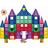 Playmags 100 Piece Super Set: with Strongest Magnets Guaranteed, Sturdy, Super Durable with Vivid Clear Color Tiles. 18-Piece Clickins Accessories to Enhance Your Creativity