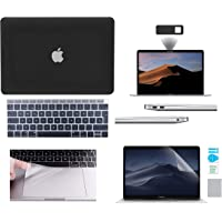 Protector Funda Case para Macbook + Protector Skin Cover de Teclado en Español + Protector Mica de Pantalla + Protector Cubrepolvo para Puertos + WebCam Cover AntiSpy + Trackpad Cover Mate Macbook Air 13'' Touch ID 2018 Model: A1932 NEGRO DEGRADADO