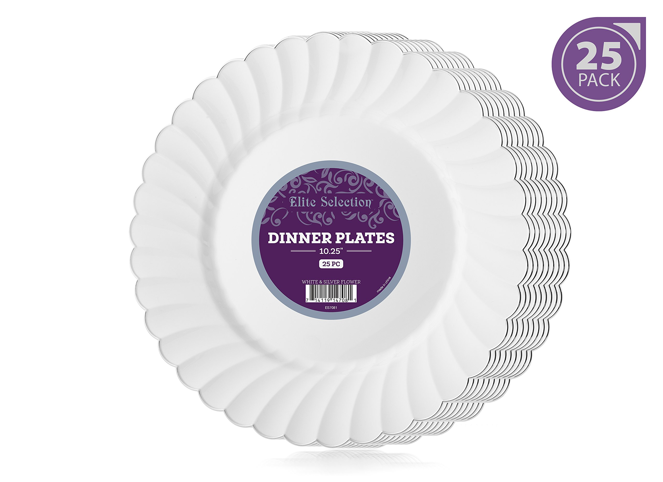 Elite Selection Pack Of 25 White Dinner Disposable Party Plastic Plates With Silver Flower Rim 10.25-Inch