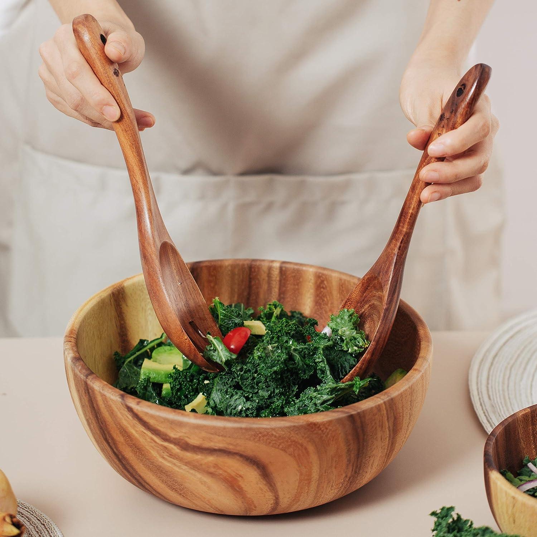 Nuts and Snacks Fruits 11 x 3.1 Pasta Large Single Bowl For Serving Salad J/&J Power Acacia Wood Salad Bowl