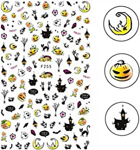 Elite99 3D Halloween Nail Decals Skull Pumpkin Ghost Owl Bat Diy Party 7Ml Nail Sticker