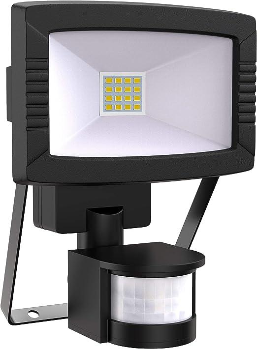 Foco led para exterior con sensor de movimiento 8,5W IP44, Blanco Frío 7000K, 790lm, Color negro, Foco Proyector: Amazon.es: Iluminación