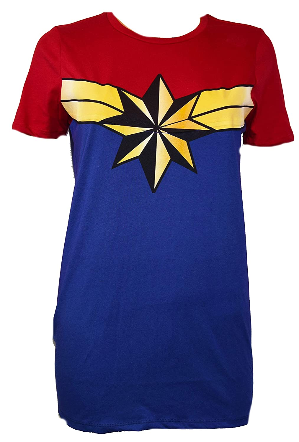 dc72a0a1 Amazon.com: Marvel Captain Marvel Costume Cosplay Tee Graphic Adult T-Shirt:  Clothing