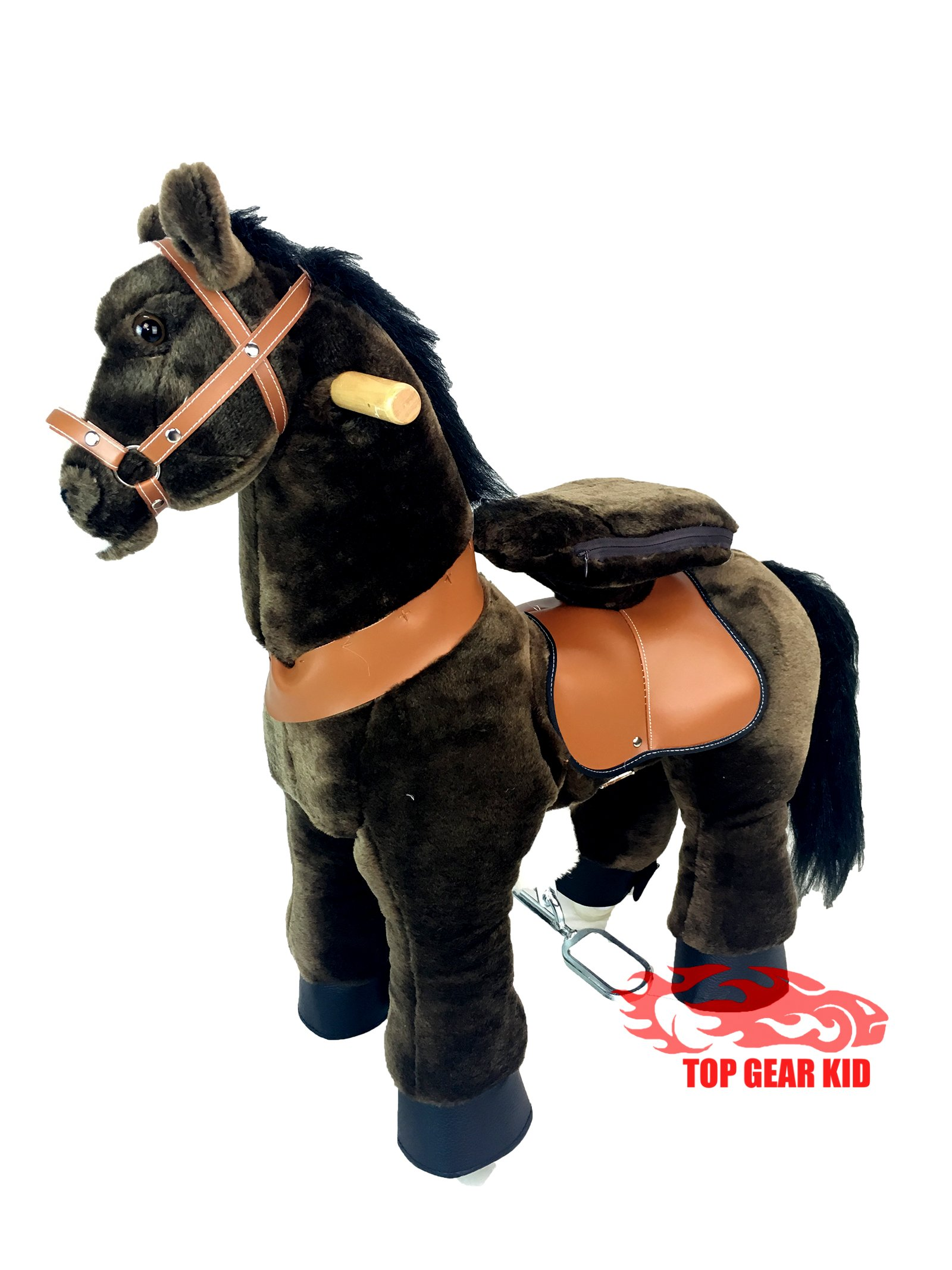 Top Gear Kid Ride On Horse Size SMALL for Children 2 to 5 Yeas Old with SOUND (DARK BROWN)