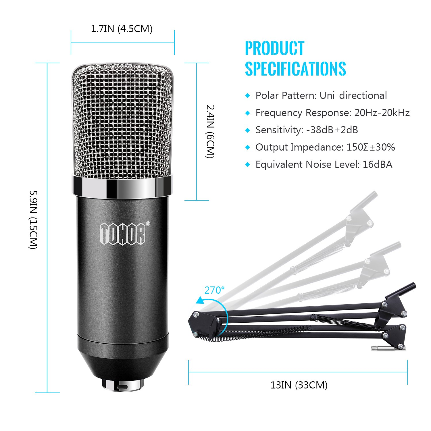 TONOR Professional Condenser Microphone XLR to 3.5mm Podcasting Studio Recording Condenser Microphone Kit Computer Mics with 48V Phantom Power Supply Black