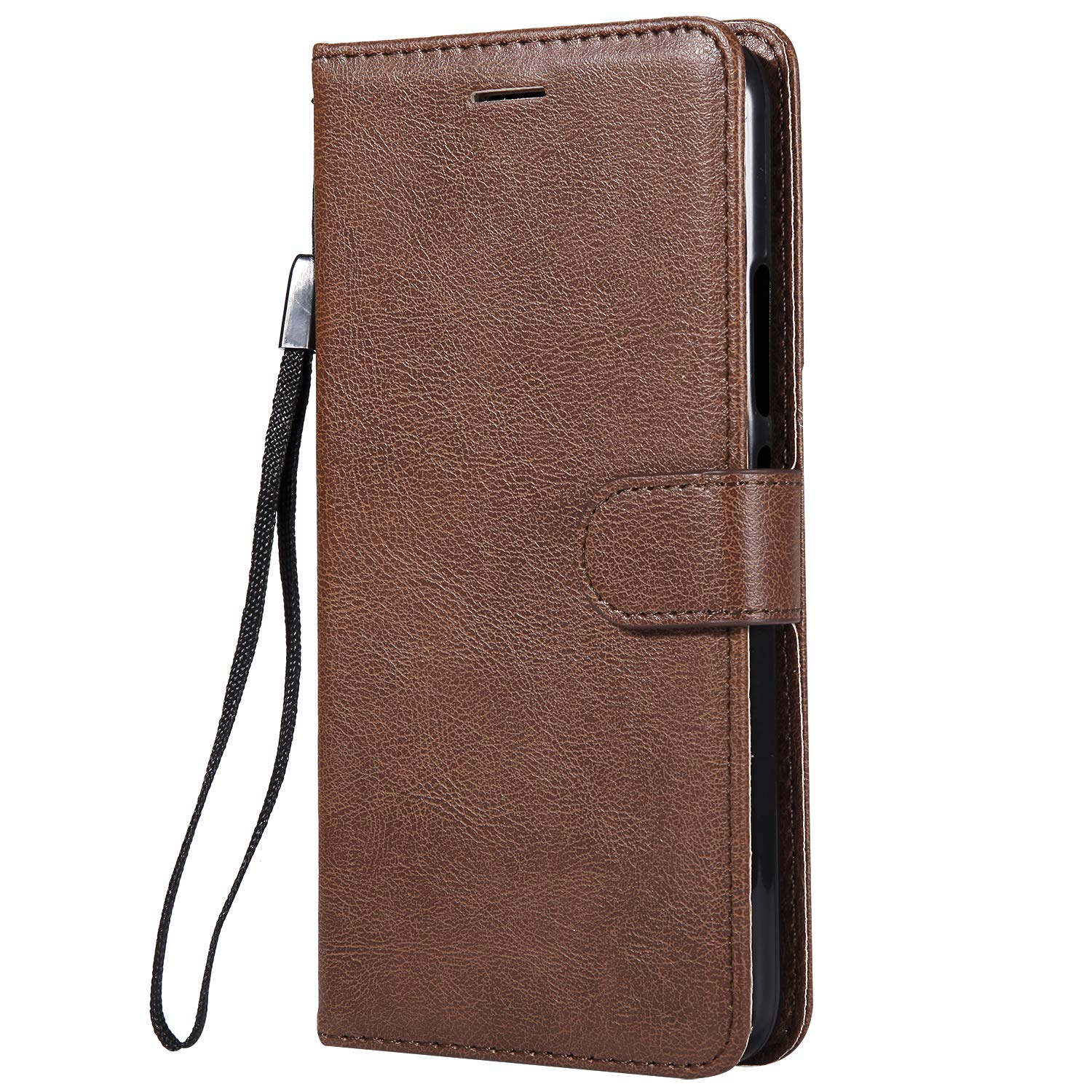 Moto E4 Plus Case, AIIYG DS Classic Pure Color [Kickstand Feature] Flip Folio Leather Wallet Case with ID and Credit Card Pockets for Moto E4 Plus Brown