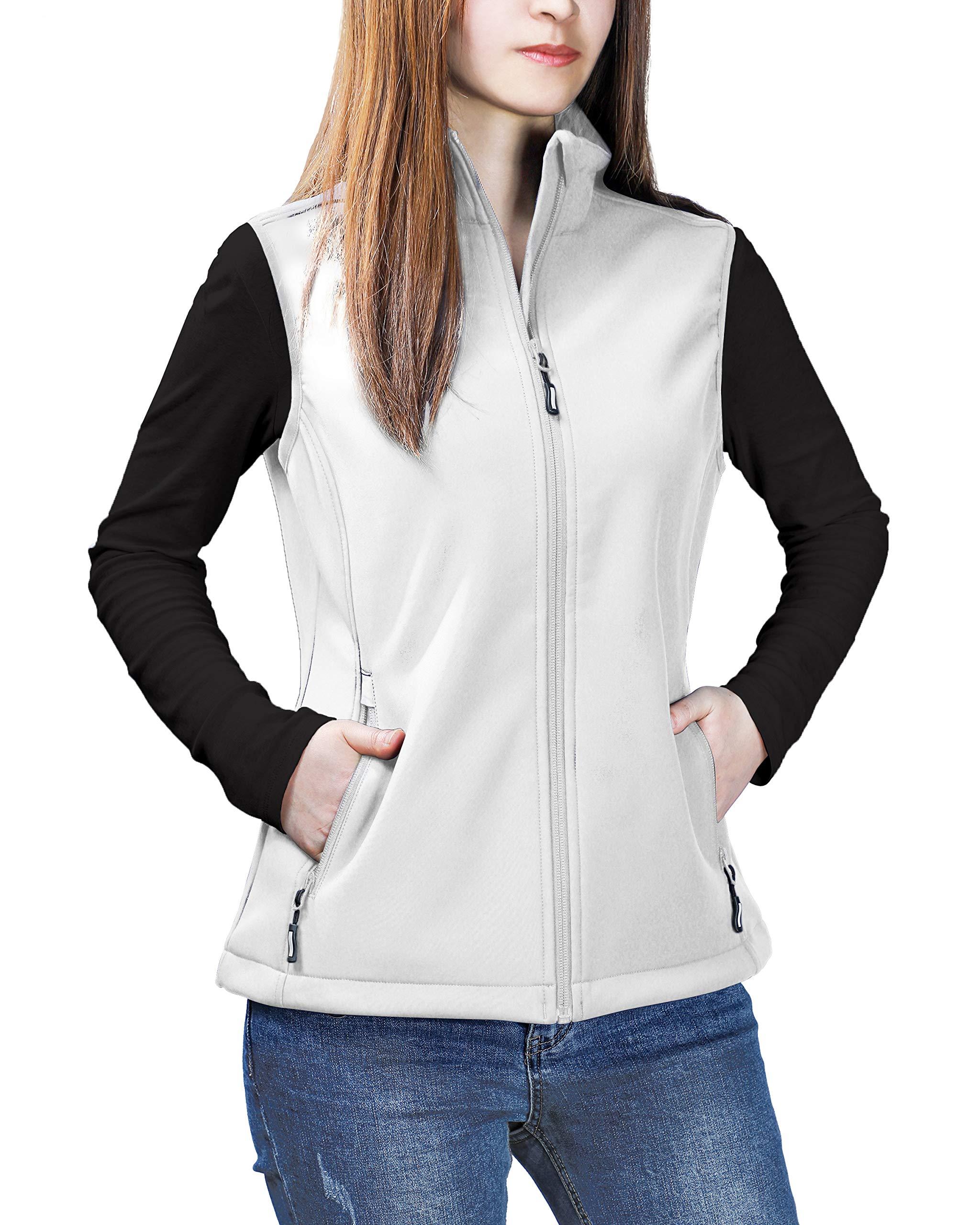 Outdoor Ventures Women's Mia Windproof Full-Zip Fleece Lined Softshell Vest White by Outdoor Ventures