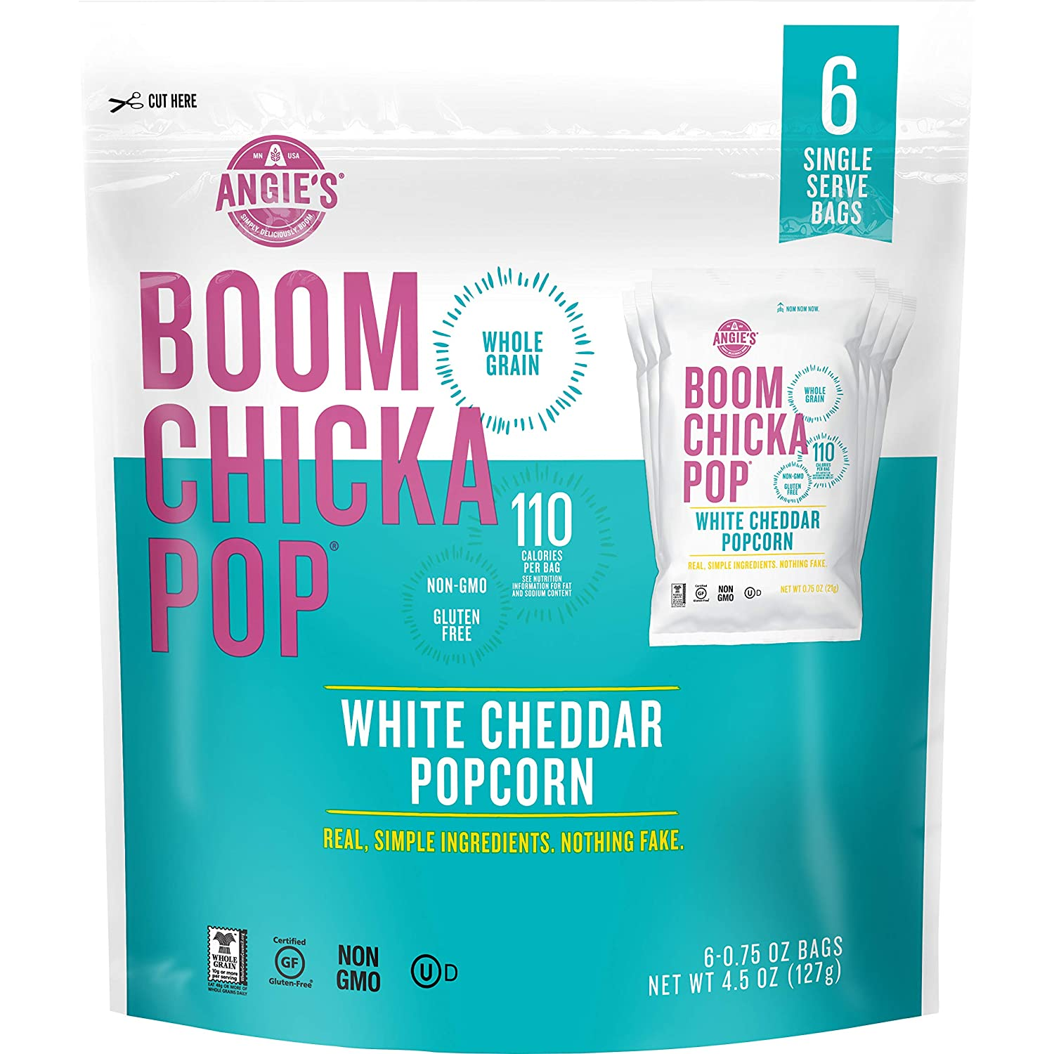 Angie's BOOMCHICKAPOP Gluten Free White Cheddar Popcorn,Cheese, 4.5 Ounce