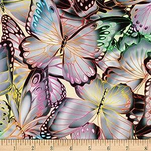 Robert Kaufman Nature Studies Butterflies Grey Fabric Fabric by the Yard