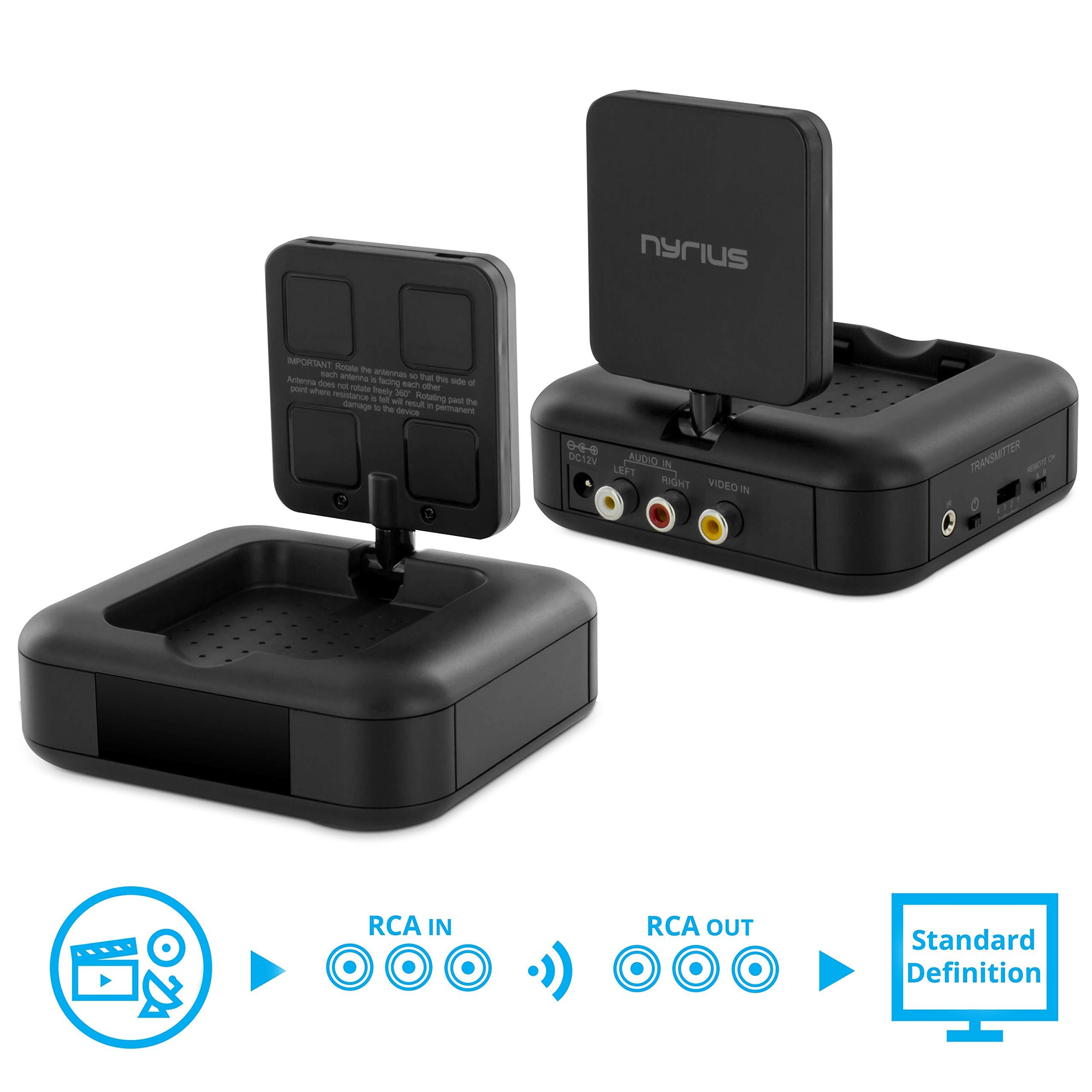 Nyrius 5.8GHz 4 Channel Wireless Video & Audio Sender Transmitter & Receiver with IR Remote Extender for Streaming Cable, Satellite, DVD to TV Wirelessly (NY-GS10) by Nyrius