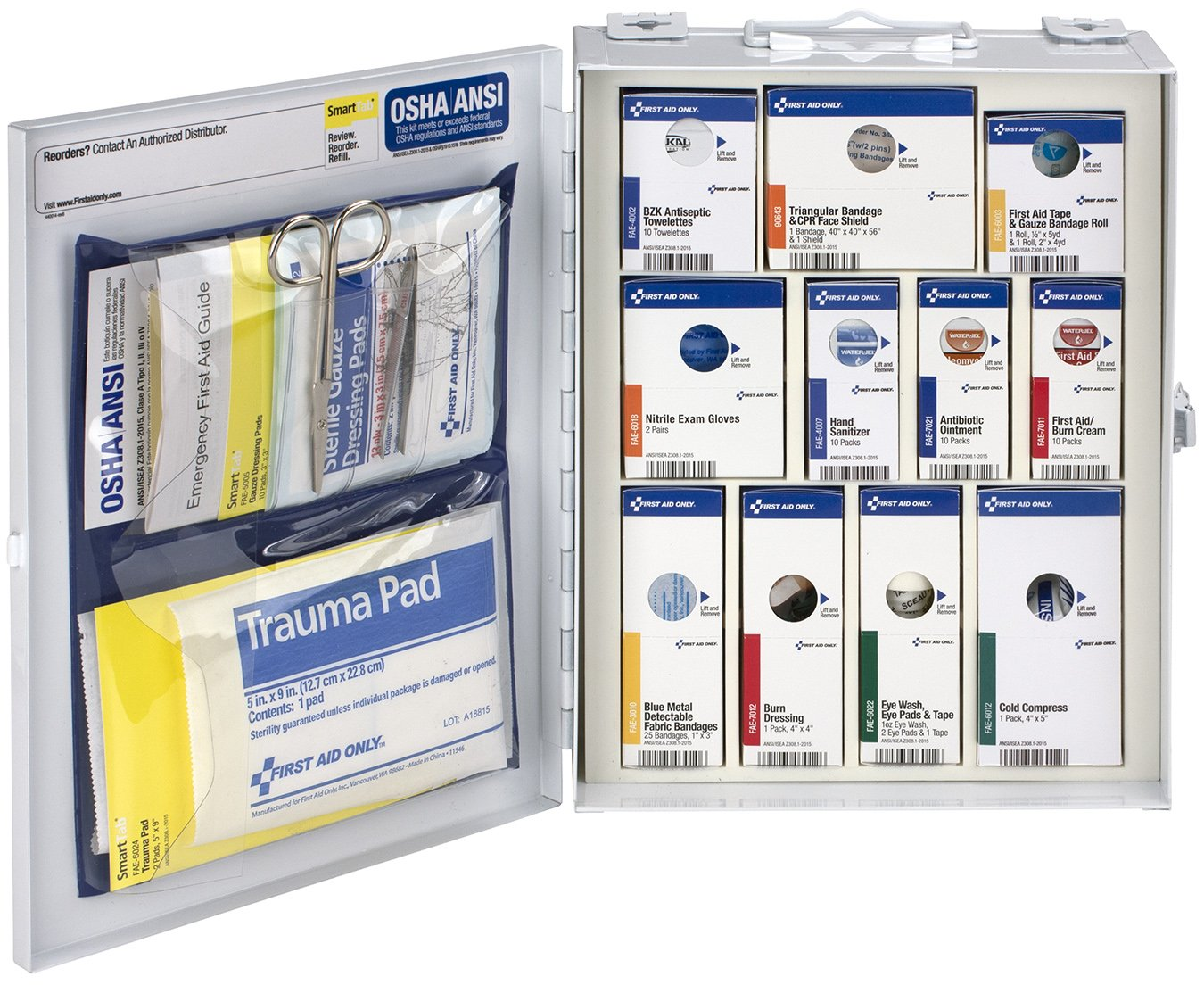 First Aid Only 90658 ANSI 2015 Compliant Medium Metal SmartCompliance Food Service First Aid Cabinet Without medications